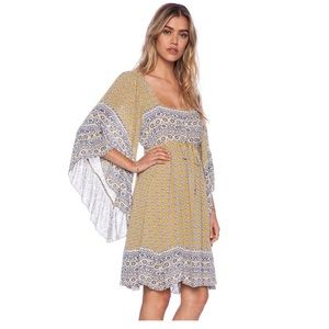 Free People Heart Of Gold Bell Sleeve Mini Dress